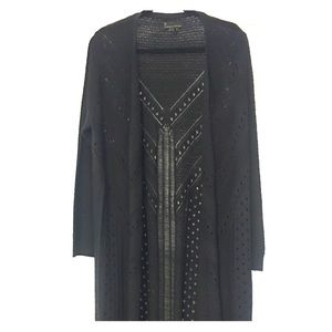 Long Black Detailed Cardigan by Jeans By Buffalo